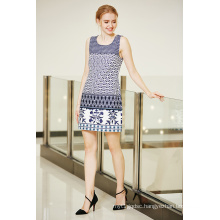 Round Neck Sleeveless Summer Ponte Dress with Border Printing in Multi Patterns