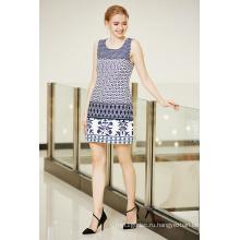 Круглый шеи без рукавов летнее платье ponte с пограничной печати в Мульти узоры