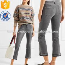 Укороченный средняя посадка клеш джинсы оптом производство модной женской одежды (TA3053P)