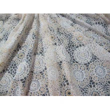 White Cotton Polyester Lace Fabric Thick Geometric Burnout