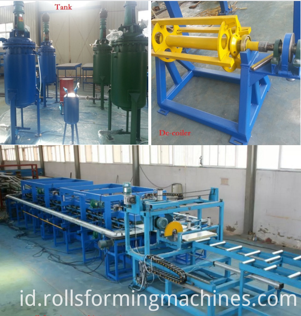 detail of sandwich panel roll forming machine