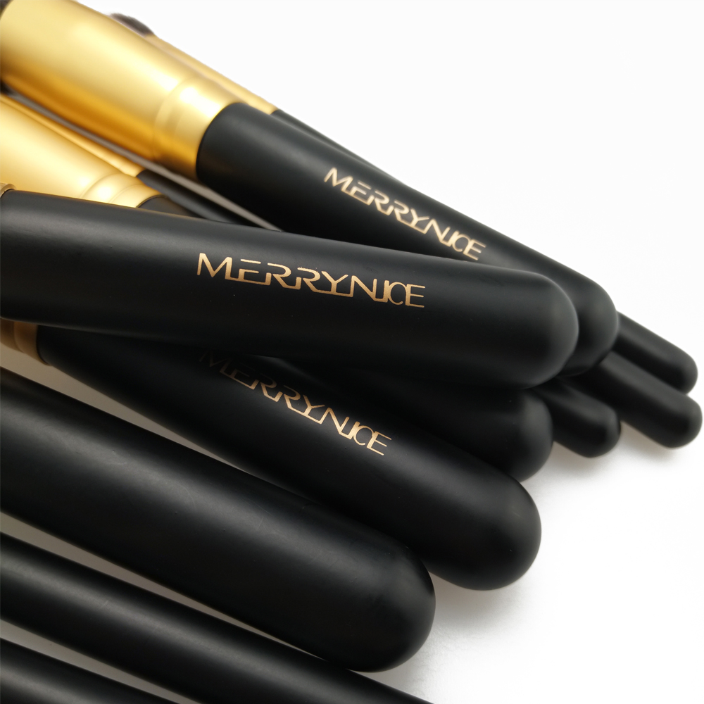 Gold Makeup Brushes with Wood Handle