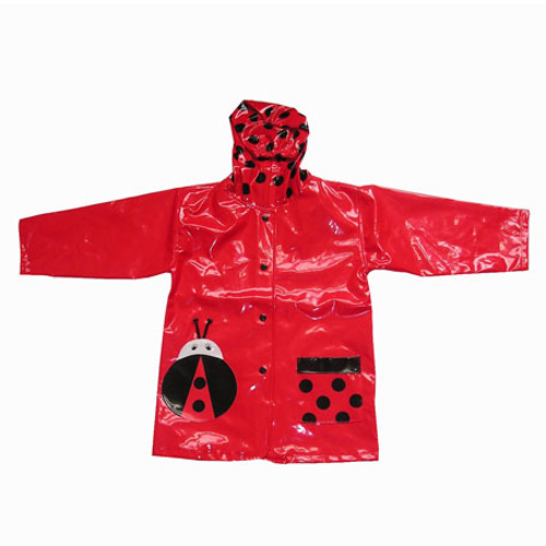 PU Raincoat with Frog Design for kids