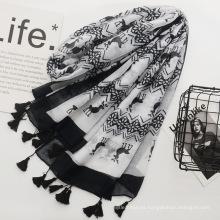 Nueva llegada de primavera y verano bufandas de tela de algodón de viaje bufanda impresa con borla bufanda de las mujeres