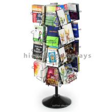 Nova loja de livros rotativos Metal livre de pé 4 vias 32 bolsos Folheto portátil Stands de exibição NZ