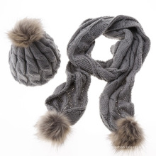 Las señoras de señora de lana puras llano personalizado de moda de invierno cálido de punto al por mayor sombrero y bufanda establece