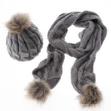 Mulheres dama de lã pura simples moda personalizada inverno quente de malha atacado chapéu e cachecol conjuntos
