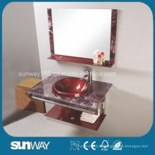 Modernes Design gehärtetes Glasbecken mit Spiegel