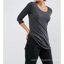 Algodão / poliéster moda em branco mulheres manga longa curva hem t-shirt