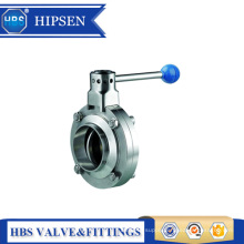 "2"" manual 4 position sanitary stainless steel weld butterfly valve"