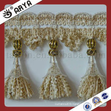 Beige Curtain lace trim tassel fringe,used for drapes,cushions,curtain and accessories
