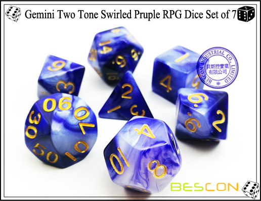 Gemini Two Tone Swirled Pruple RPG Dice Set of 7-3
