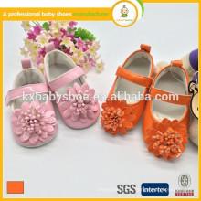 Chegada por atacado beautuful flor barato pu couro meninas vestido sapatos