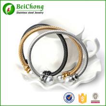 Neue offene Manschette Stahlseil Edelstahlband mit Perle