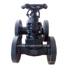 Válvula de globo de extremo de brida de acero de carbono forjado A105 DIN Pn40