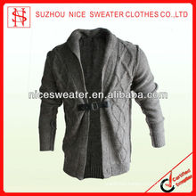 Men's one feather button long sleeve shawl collar cardigan
