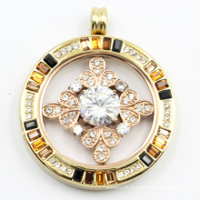 High-End Magnet Style 316L Surgical Stainless Steel Locket Pendant with Stones