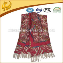 Material de lã 100% de lã de alta qualidade mais recentes lenços de xales de moda com borla para mulheres