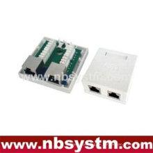 2 puertos Caja de superficie STP Cat6 2xRJ45 PCB jack