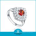 Grande vermelho CZ prata jóias personalidade anel (sh-r0605)