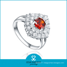 Large Red CZ Silver Jewelry Personality Ring (SH-R0605)