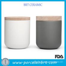 Jarrones de velas de cerámica mate de moda con tapa de madera