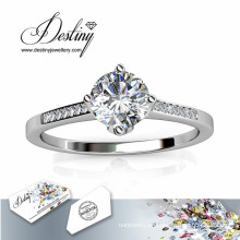 Destino joyería cristal Swarovski princesa brillante anillo de