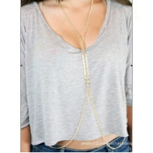 Fashion golden plated fish bone chain body jewelry sexy jewelry for women
