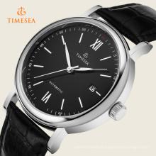 Relógio de quartzo dos homens com mostrador preto pulseira de couro preto 72265