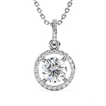 2021 New Delicate Jewelry 925 Sterling Silver 1 Carat Gra Moissanite Lab Diamond Round Pendant Necklace