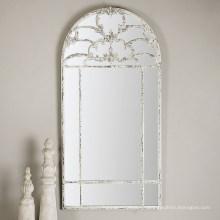 Espejo decorado blanco envejecido apenado de la pared enmarcada para las decoraciones de la pared