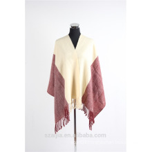 Ladies 2 tone plain winter poncho shawl