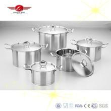 Juego de ollas de cocina de acero inoxidable pulido acabado con tapa de acero