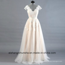 A-Line Lace Protection Sleeve Appliques Elegant Wedding Dress