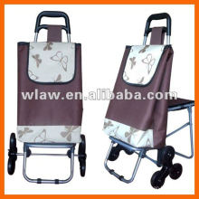 Shopping cart with stool include luggage bag