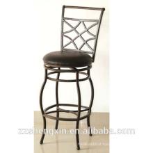 Cadeira de bar antiquado estilo KD, banco de apoio giratório para costas com almofada