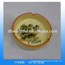 Atacado cerâmica decorativa cinzeiros com pintura azeitona