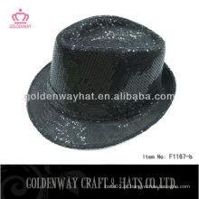 Chapéu engraçado do partido do Sequin preto