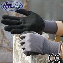 NMSAFETY 15 калибра нейлон связанный лайнера с черным песком, окунутый нитрил на ладони работы перчатки