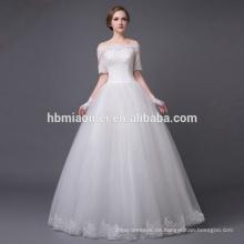 2016 neue Design Korea Stil aus Schulter Boden Länge nackt Hochzeitskleid mit großen Zug