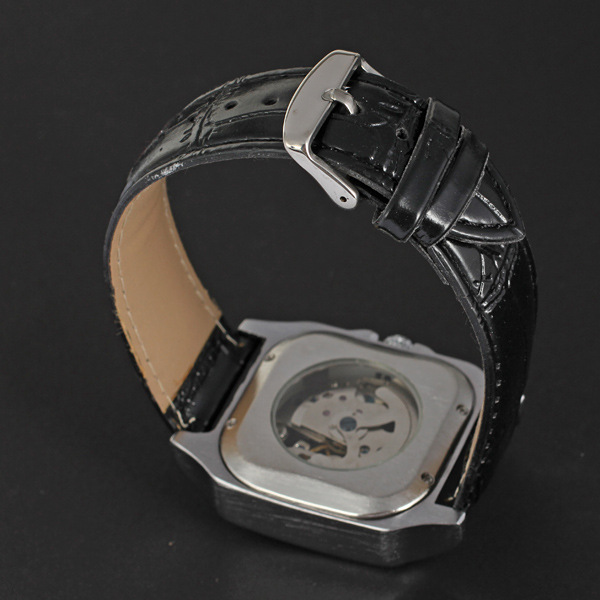 winner alloy square watch with visible mechanism leather band watch for man