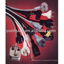 Cordon noir couleur blanc 2mètres 6feet long câble d'alimentation ca