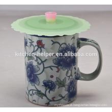 Hot vendendo FDA Aprovado Food Grade Cute Anti-poeira Coffee Mug tampa do copo de silicone