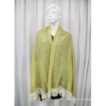 Леди мода оливковый зеленый хлопок бахромой шаль (YKY1085)