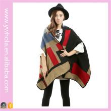 2016 Pashmina Splice Loose Cloak Дизайн Зимний женский шарф Шаль