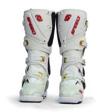Vente chaude blanc et noir moto de mode bottes en cuir haute cheville motocross chaussures