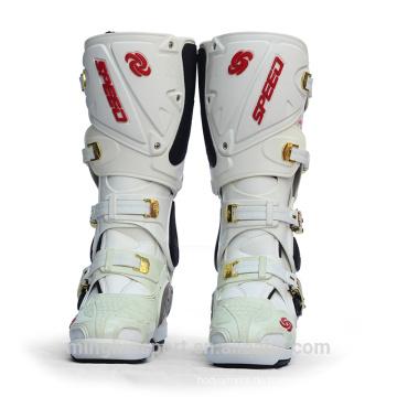 Heißer Verkauf Weiß und Schwarz Mode Motorradstiefel Leder hohe Knöchel Motocross Schuhe