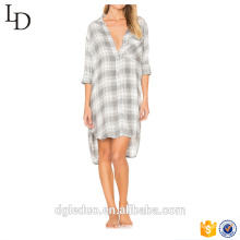 Wholesale ladies causal long sleeves pajamas comfortable sleep wear summer night shirt with pocket
