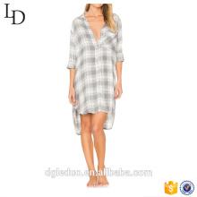 Senhoras atacado causal mangas compridas pijama confortável desgaste do sono camisa de noite de verão com bolso