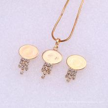 61841 Xuping Fashion China Wholesale 18K Charming Gold überzogener Anhänger schöner Diamant Schmuck-Set